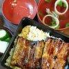 Нарита. Обед с угрем унаги: рыба, рис, соленья и суп-бульон